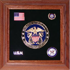 Medallion USN Framed 4 Round with Pins