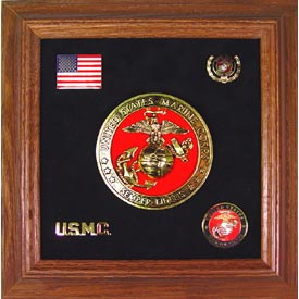 Medallion USMC Framed 4 Round with Pins