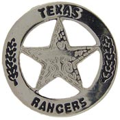 Texas Ranger Police Badge Pin Nickel