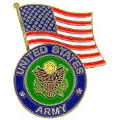 Army Logo With USA Flag Pin
