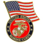 USMC Logo With USA Flag Pin