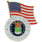 USAF Logo With USA Flag Pin