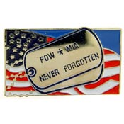 POW/MIA Never Forgotten Dog Tags Pin