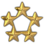 Army 5 Star General Pin 7/16 Gold
