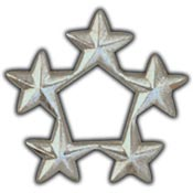 Army 5 Star General Pin Silver7/16