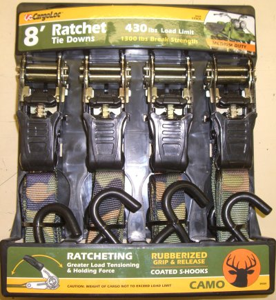 8' Ratchet Tie Downs Camo 430lb Load Limit