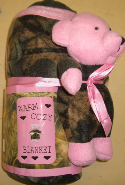 Infant Girls Fleece Blanket w/Teddy Bear Gift Set