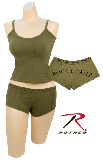Ladies Olive Drab Tank Top Wear w/ Your Booty Camp Shorts