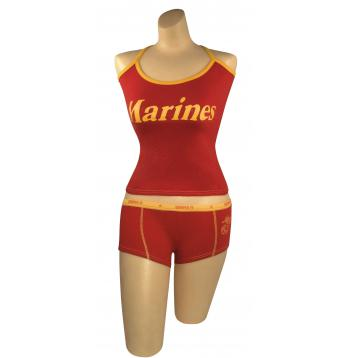 Ladies USMC Red and Gold Tank Top Matches Booty Camp Shorts