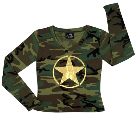 Womens LS Foil Star T-Shirt