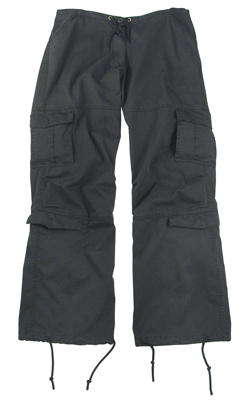 Ladies Black Vintage Paratrooper Pants