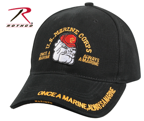 Black USMC Bulldog Low Profile Cap