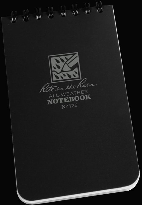 3 x 5 Notebook Black