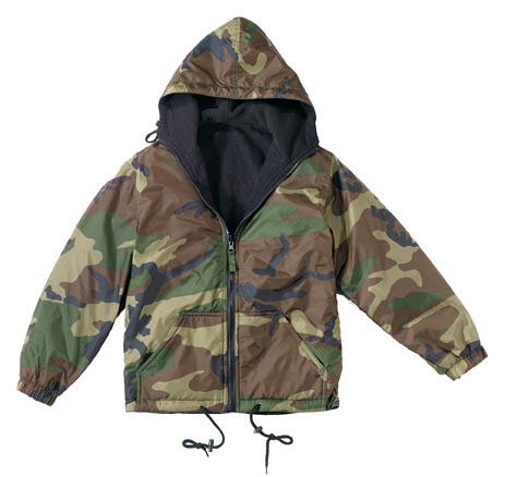 Kids Camo Reversible Fleece Jacket