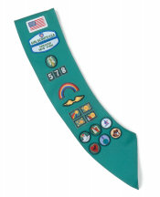 Junior Girl Scout Sash-Extra Long Length.
