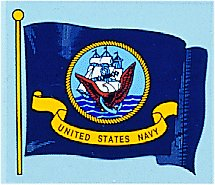 Navy Wavy Flag Decal