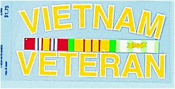 Decal-Vietnam Veteran With Ribbons