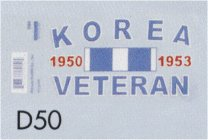 Decal- Korea Veteran 1950-1953