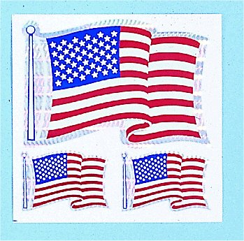 Decals- American Flag 3 Per Sheet
