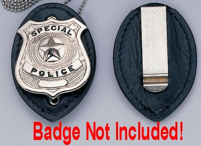 Clip On Leather Badge Holder